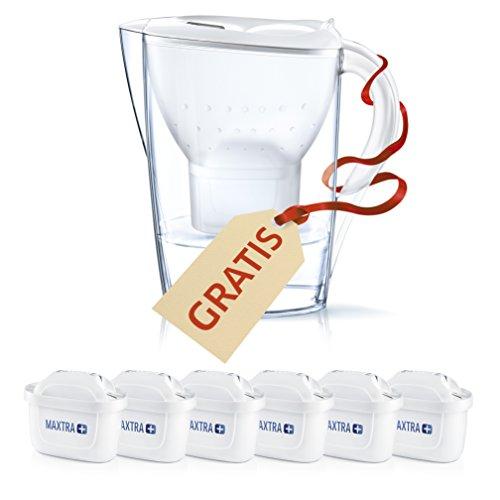 BRITA Filtros Agua MAXTRA+ Pack 6 + Jarra Marella Blanca, Transparente, Unica