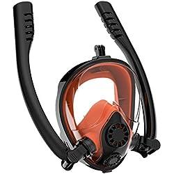 TTHU Masque de Masque Complet avec Tuba Flexible et Support de caméra, Lunettes de Masque de plongée pour Adultes, Masque de plongée Respirant Anti-buée et Anti-buée,Orange,S/M