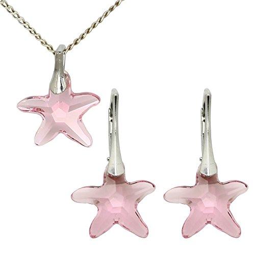 3 colori set collana, orecchini e ciondolo con cristalli swarovski in comprovata qualità di m3crystal a forma di stella 15mm, catena 45 cm in argento 925 regalo per donne (light rose)