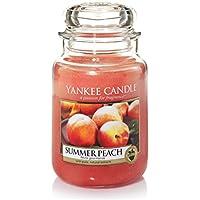 Yankee Candle Summer Peach Candele in Giara Grande, Vetro, Rosso, 10.1X9.8X17.7 cm
