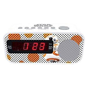 LEXIBOOK Star Wars BB-8-Radio Despertador con Reloj Digital, Pantalla LCD, repetición Alarma, alimentación AC RL145SW, Color Blanco/Naranja