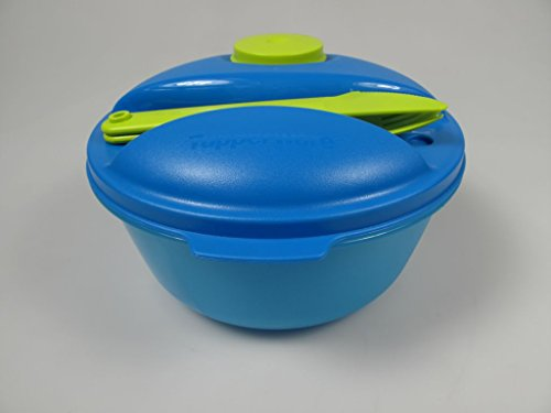 TUPPERWARE Salade on the go 1,5 L + 2 Couverts + Mini Gobelet 60ml bleu vert
