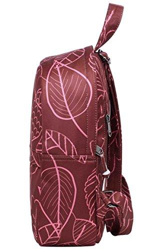 OLETHA Zaino Piccolo Mini Borsellino per Donna   A4 formato   34x23x11cm   Fenicotteri D212N, Foglie Rose