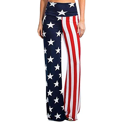 Honestyi Fashion Womens High Rise amerikanische Flagge weites Bein Hosen Leggings lose Hosen Damen Unabhängigkeitstag Markierungsfahne lösen beiläufige Hosen breite Bein Hosen(Mehrfarbig,M)