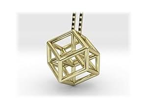 Hyper Kubus–Pendentif avec chaîne–plaqué or 18carats–Tesseract