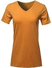 TWIFER Damen Schließen Hülsen V Ansatz T Shirt Beiläufige Oberseiten Lose Oberseiten Bluse Kurz