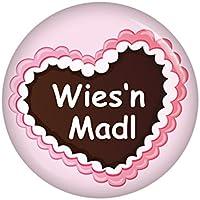 Kiwikatze® Fest - Lebkuchenherz Wiesn Madl Button Ansteckbutton 37mm Oktoberfest Volksfest für Dirndl oder Lederhose