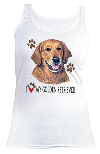 ... alle Tierliebhaber und Hundefans - weiss Weiß. Damen Tanktop mit süßem Hunde  Motiv - I love my Golden Retriever - Hundebild - Geschenk