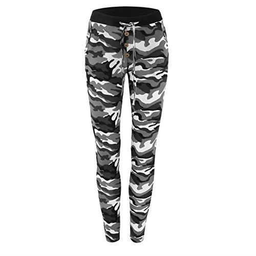 Drei-tasten-hose (Hippolo Damen Hose Leggings im Tarn-Camouflage-Muster (S, Weiß))