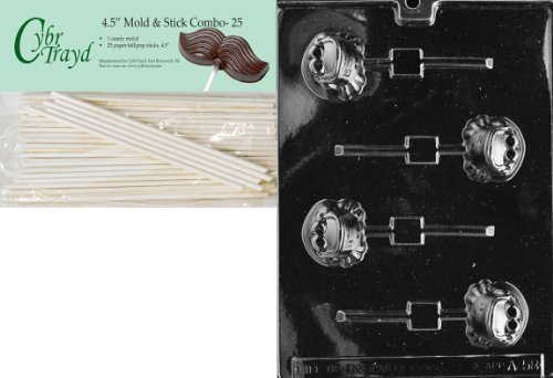 Cybrtrayd 45St25-A058 Frog Lolly Animal Chocolate Candy Mold with 25 4.5-Inch Lollipop Sticks by CybrTrayd (Mold Frog Candy)