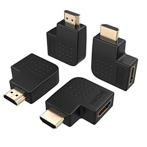 ELUTENG HDMI Adapter 4 Stück Bandwidth 18Gbps HDMI 90 4K 60Hz HDMI 2.0 Männlich zu Weiblich HDMI Winkelstecker 270 Grad Schwarz Unterstütz 1080/1080i/720P usw.MEHRWEG Flat Component-video-kabel