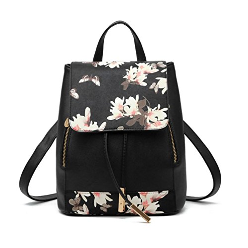 XibeiTrade, Borsa a zainetto donna Black Flower