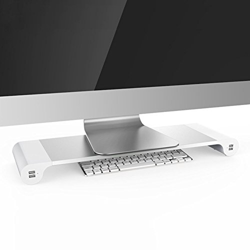 Ducomi® Spacebar Supporto da Scrivania per iMac, Monitor e Computer Portatile con 4 Porte USB - Organizer in Lega di Alluminio Design Elegante