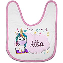 Lolapix Babero Personalizado con el Nombre del bebé. Modelo Unicornio Rosa. Regalo Original para Recien Nacidos, bebés y niños. Diferentes diseños para Elegir.