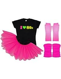 I Love 80s Ladies Fancy Dress Outfit Complete Set Tutu Tshirt Legwarmers Gloves