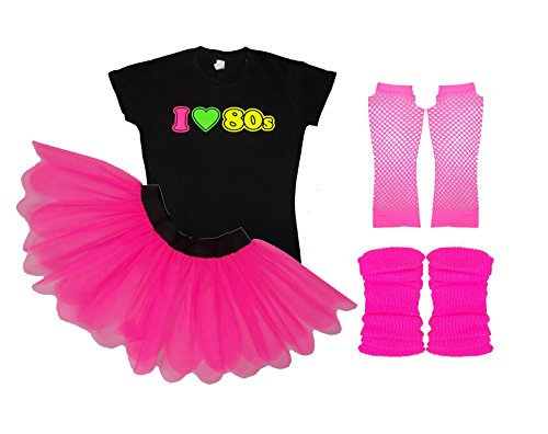 I Love 80s Ladies Fancy Dress Outfit Complete Set Tutu Tshirt Legwarmers Gloves (3 Extra Large)