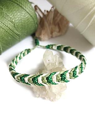 Bracelet brésilien/amitié/bijoux unisexe en fil Vert Vert pomme et Blanc tissé main en macramé avec du fil ciré Réf.3PPvertvertblanc