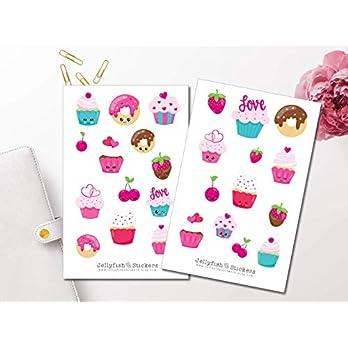 Süße Cupcakes Sticker Set | Aufkleber Bunt | Journal Sticker | Sticker Kawaii | Sticker Süßigkeiten | Sticker Gesichter