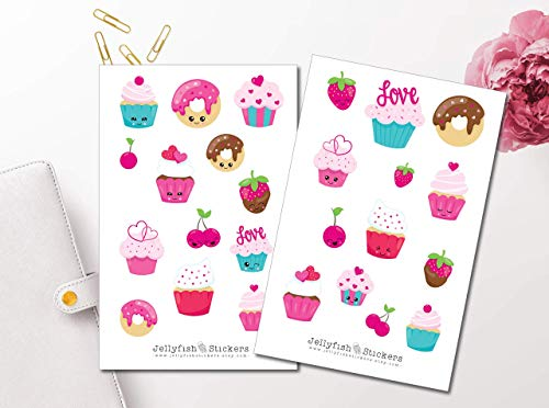 Süße Cupcakes Sticker Set | Aufkleber Bunt | Journal Sticker | Sticker Kawaii | Sticker Süßigkeiten | Sticker Gesichter -
