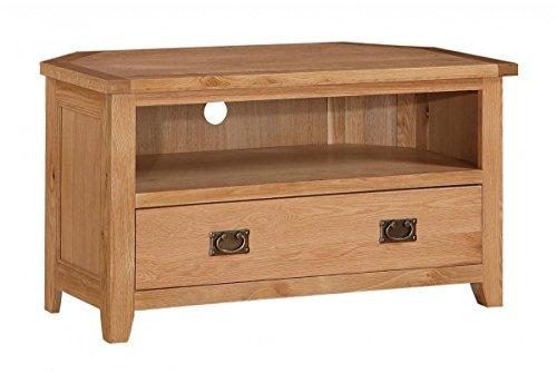 Furniturevilla Stirling TV-Einheit Ecke, TV-Schrank mit 1dorwe & 1Regal, Antik Messing Griffe, 1020W x 510D X 550cm Höhe, Wohnzimmer Möbel