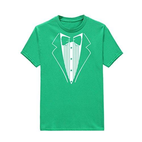 V-neck-tuxedo (BA Zha Hei Männer Print Tuxedo Fancy Lustige Fitness Raid Short Sleeve Tee Herren Fitness Kurzarm Rundhals Basic Oversize Slim Fit in Vielen Farben T-Shirt Plus Bluse Baumwolle Tops (M, Grün))