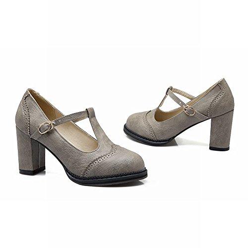 Mee Shoes Damem bequem dicker Absatz runder toe Schnalle Sptize T-Strap Pumps Grau
