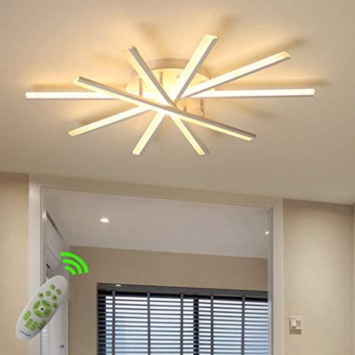 Satin Nickel-chrom-kronleuchter (LED-Licht Deckenleuchte Dimmbares Wohnzimmer Kronleuchter mit Fernbedienung Pendelleuchte Leuchte for Schlafzimmer Acrylschirm weiß lackiert Metallrahmen Deckenleuchte Dimmen Designer-Lampe 60W)