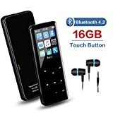 Lettore MP3 16 GB con Bluetooth 4.2, Pulsante a sfioramento Lettore musicale MP3 con radio FM/Registratore vocale/Riproduzione video/E-Book, Altoparlante audio Hi-Fi integrato