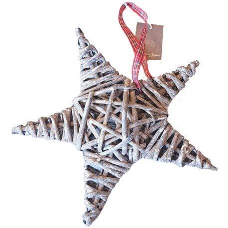 Grande Étoile en Rotin Gris avec Ruban à Carreaux, dim. 20 cm, décoration de Noël à Suspendre