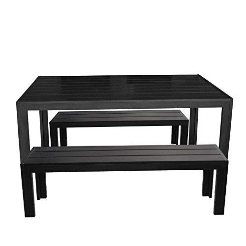 3tlg. Gartengarnitur Terrassenmöbel Set Aluminium Polywood Gartentisch 150x90cm 2x Alu Sitzbank mit Polywood-Sitzflächen Schwarz