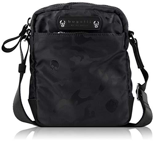 bugatti Camo Kleine Umhängetasche für Damen und Herren, Schultertasche Messenger Bag Kuriertasche, Camouflage, Schwarz
