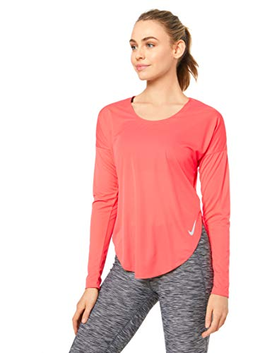 Nike Damen W NK City Sleek TOP LS Long Sleeved T-Shirt, Ember Glow/Reflective silv, M -