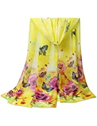 ddde12f03469 Westeng Foulard Femme Foulard Imprimé Papillon Fleur Foulard en Mousseline  de Soie 155 x 50 cm