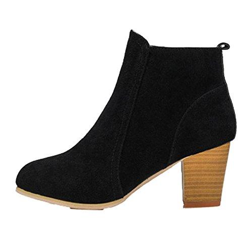 Stiefel Damen Sunnyadrain lässig Vliese Reine Farbe High Heel einfach Herbst Winter Schuhe Wedges High Heel Stiefeletten für Frauen