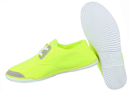 Damen Schuhe Freizeitschuhe Schnürer Low-top Sneaker Neongelb Neongelb
