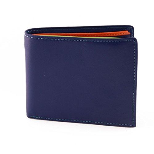Portafoglio Per Uomo In Vera Pelle, Interno Multicolor Colore Blu - Pelletteria Toscana Made In Italy - Accessori