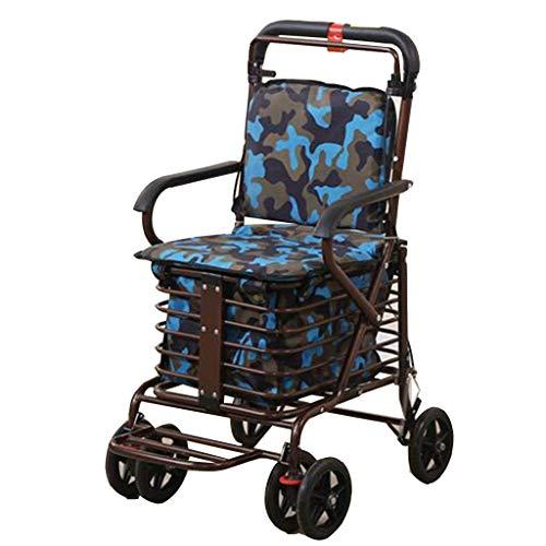 Einkaufswagen Old Man Trolley Einkaufswagen Tragbarer Walker Faltrollstuhl kann eine Pause einlegen, um Lebensmittel zu kaufen Roller Geschenk kann 100 kg tragen (Farbe: Blau, Größe: 46 * 55 * 90 cm)