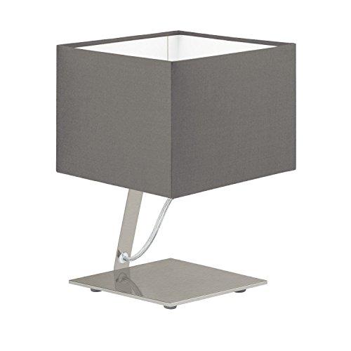 Bauhaus LED Tischleuchte Rechteckiger Schirm 480 Lumen Wipp-Schalter Nachttischleuchte Stoffleuchte...