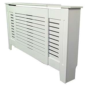 meuble couvre radiateur blanc peint style moderne mdf ajustable 1300mm 1950mm. Black Bedroom Furniture Sets. Home Design Ideas