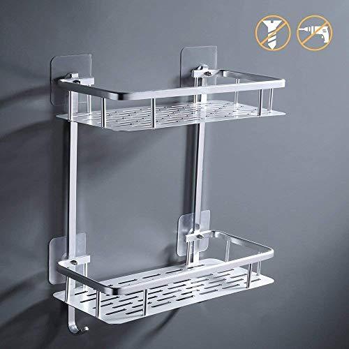 KES 2-Tier Badezimmer Regal Kein Bohr Rechteck Dusche Caddy Organisator Aluminium Ohne Bohren Schraube Freie WandHalterung Eloxiert, A4028BDF