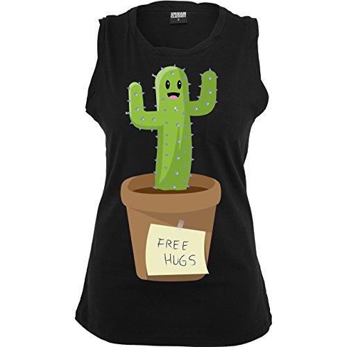 Statement Shirts - Free Hugs - ärmelloses Damen T-Shirt mit Brusttasche Schwarz