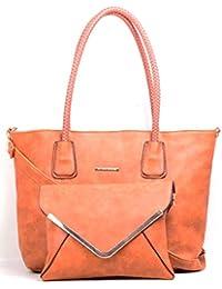 Hopping Street Orange Faux Leather Women Handbag
