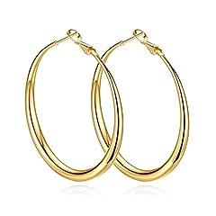 Idea Regalo - Yumay orecchini a cerchio grandi in oro giallo da 14 carati, diametro: 50 mm, da donna