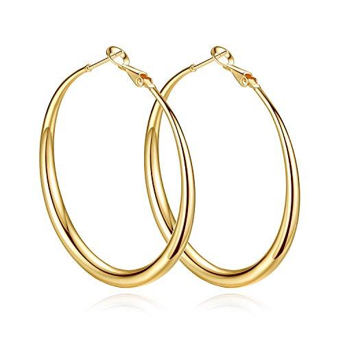 Yumay orecchini a cerchio grandi in oro giallo da 14 carati, diametro: 50 mm, da donna