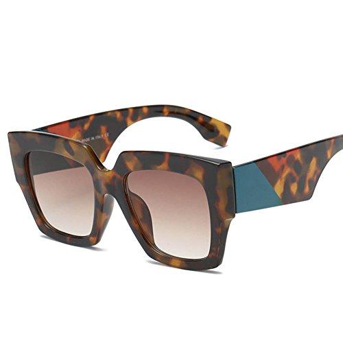 RPFU Sonnenbrille Frau Europäischen Und Amerikanischen Mode Tri-Color Frame Square Gläser,Tortoise/Brown
