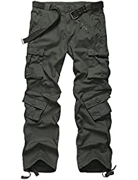 Jessie Kidden Men's Loose Cotton Cargo Multi-Pocket Pants With 8 Pockets,Casual Trousers #7533