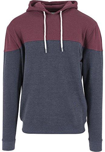 Urban Classics Herren Melange Block Hoody, Color:nvy/burgundy;Größe:M