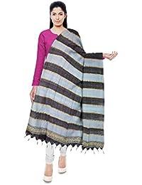 Aruna Handloom Women's Tassar Cotton Dupatta (Grey And Sky Blue)