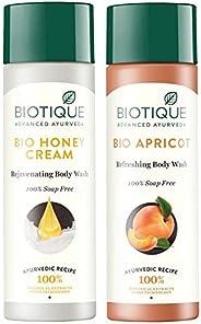 Biotique Bio Honey Cream Rejuvenating Body Wash, 190ml and Biotique Bio Apricot Refreshing Body Wash, 190ml