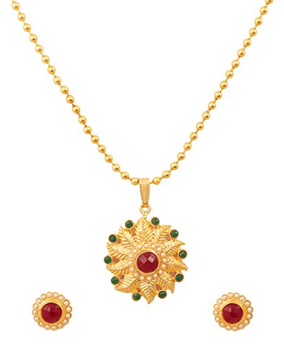 Touchstone Alloy Pretty Indian Leafy Motif Faux Pearls Faux Ruby Faux Emerald Round Shape Pendant Set In Gold Tone For Women